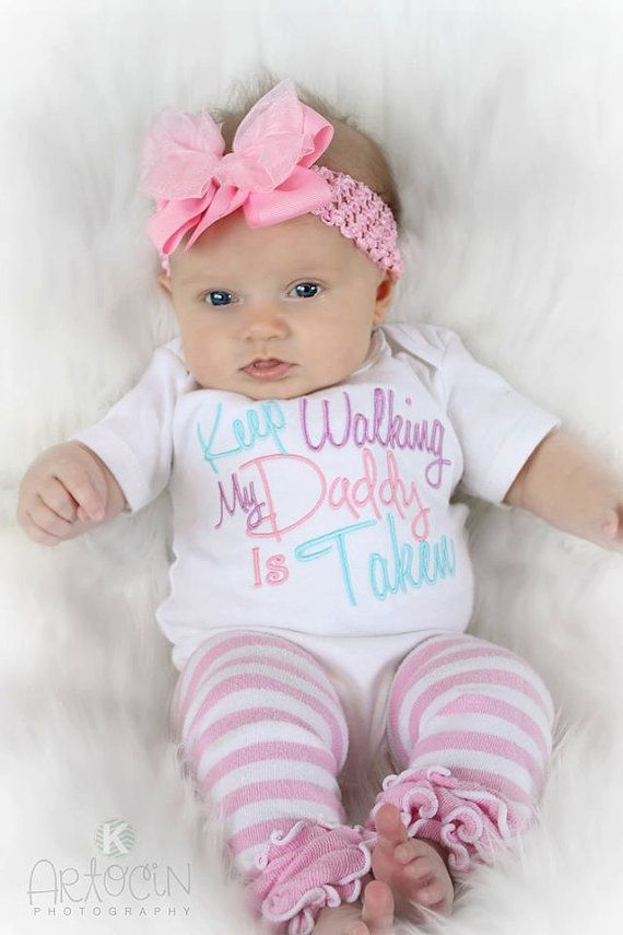Baby Girl Clothes Embroidered With Keep Walking My Daddy