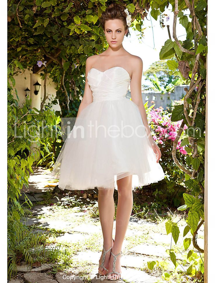 bola vestido sem alças namorada na altura do joelho tafetá vestido de noiva de tule - BRL R$ 206,52