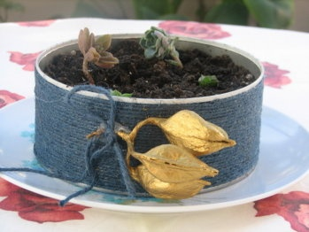 Centro de mesa con cuerda celeste e hice un pequeño jardín.Centerpiece that I made with a can of tuna and rope,  have some small plants, I hope you like it.