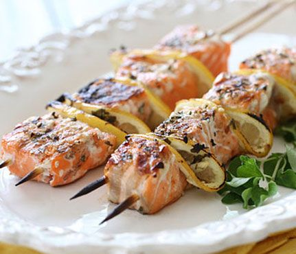 Grilled Salmon and Lemon Skewers seasoned with an unorthodox blend of oregano and cumin #SELFmagazine