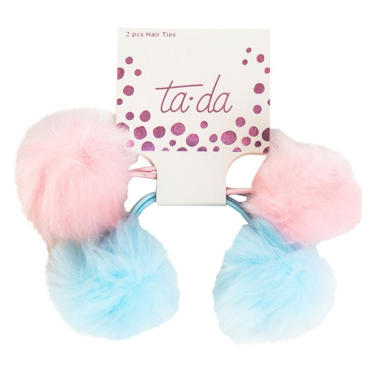 Ta-da Fuzzy Pouf Hair Ties - 2pc, Toddler Girl's, Multi-Colored