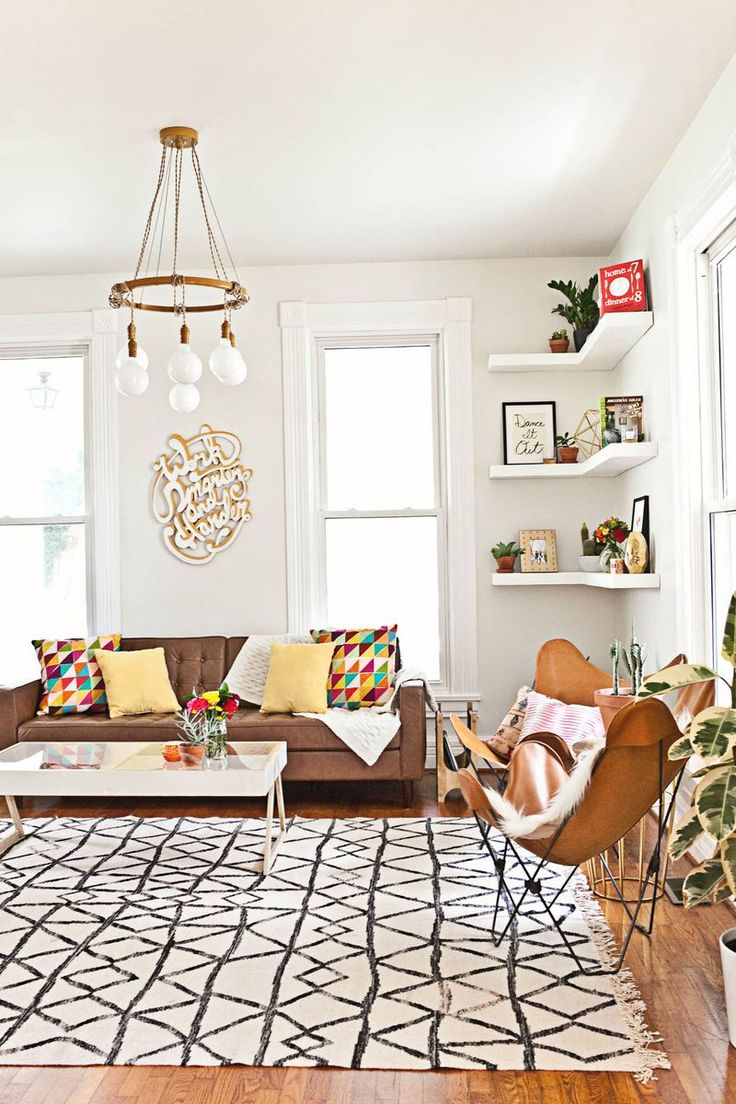 Living room shelves lights : Decorating a living room rug with bright