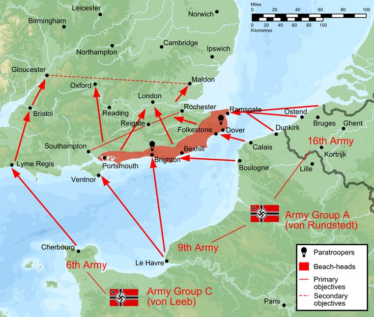Map giving an overview of the plan for Operation Sealion. Paratroopers would land near Brighton and Dover, and troops would be landed on beaches from Portsmouth to Ramsgate. The initial objective was to establish a line from Southampton to Rochester.