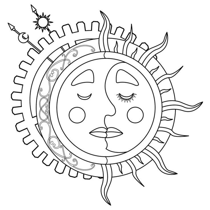 Moon Sun Steampunk Tattoo Lineart by dimensionten on DeviantArt