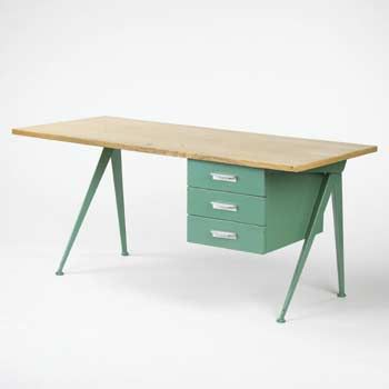 Jean Prouve Compass desk. Wood, perfect green, metal. Cant imagine a better desk for me.