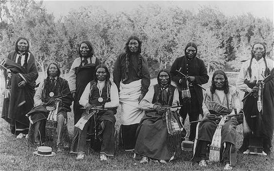 Cheyenne ca. 1895  (Left to right: 1 - Bull Bear, 2 - Wolf Robe (?), 3 - Little Bear, 4 - Three Fingers, 5 - Yellow Bear, 6 - Roman Nose, 7 - Turkey Legs Jr., 8 - Magpie, 9 - Little Man, Keeper of Sacred Arrows.  Photo by C. C. Stoltz)