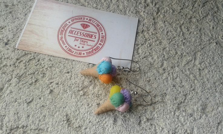 #icecream #ice #cream #rainbow #earrings #polymer #silver #accessoriesforstars #blue #green #mintgreen #pink #yellow #purple #vanilla #rasberry #mint #orange