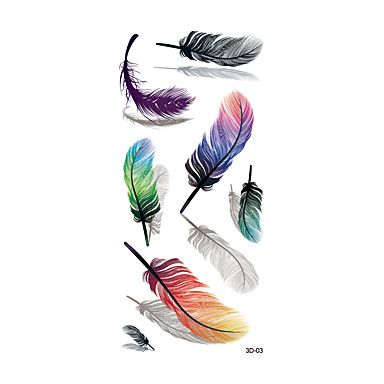 1pc Women Waterproof Temporary Tattoo Simulation Removable Vivid Body Art Colorful Feather Blue Orange 3D-03 5193530 2017 – $0.59