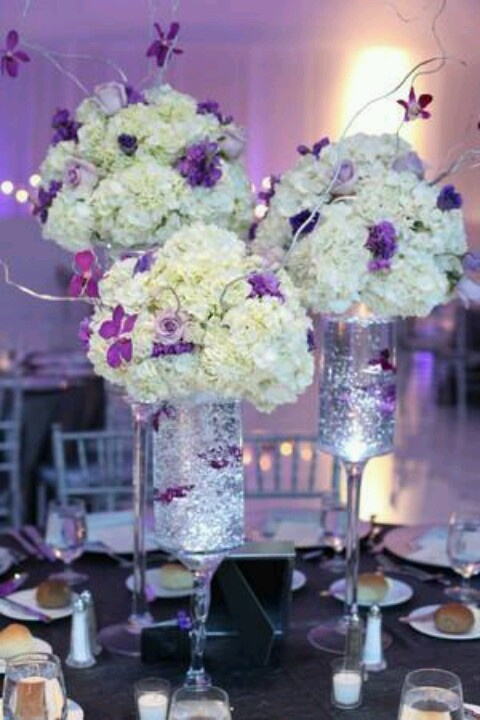 Purple and white centerpieces plum lavender