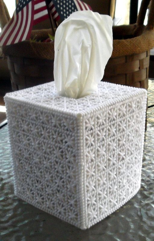Beutiful White Tissue Box Cover by TissueMart on Etsy, $18.00 ~ plastic canvas inspiration ~ very easy to DIY