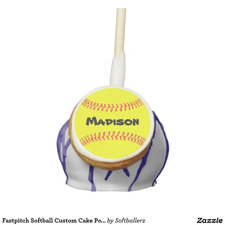 Fastpitch Softball Custom Cake Pops! Personalize with your own team name or other text! #softball #party #banquet #cakepop #softballparty #snack #softballsnacks #softballbanquet #fastpitch