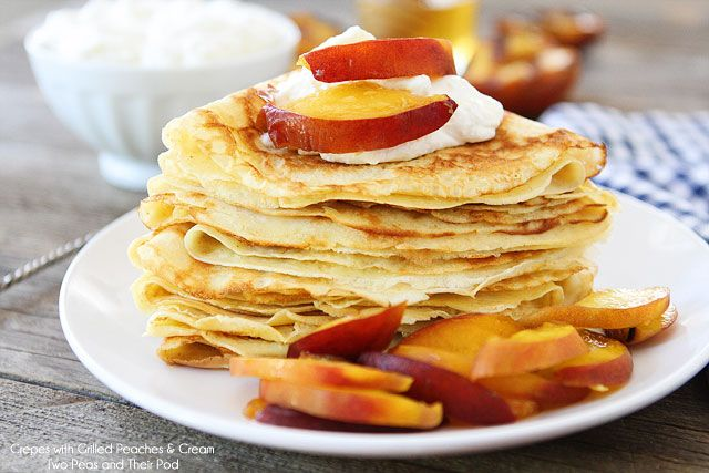 Crepes with Grilled Peaches & Cream Recipe on twopeasandtheirpod.com A great way to use up the summer peaches!