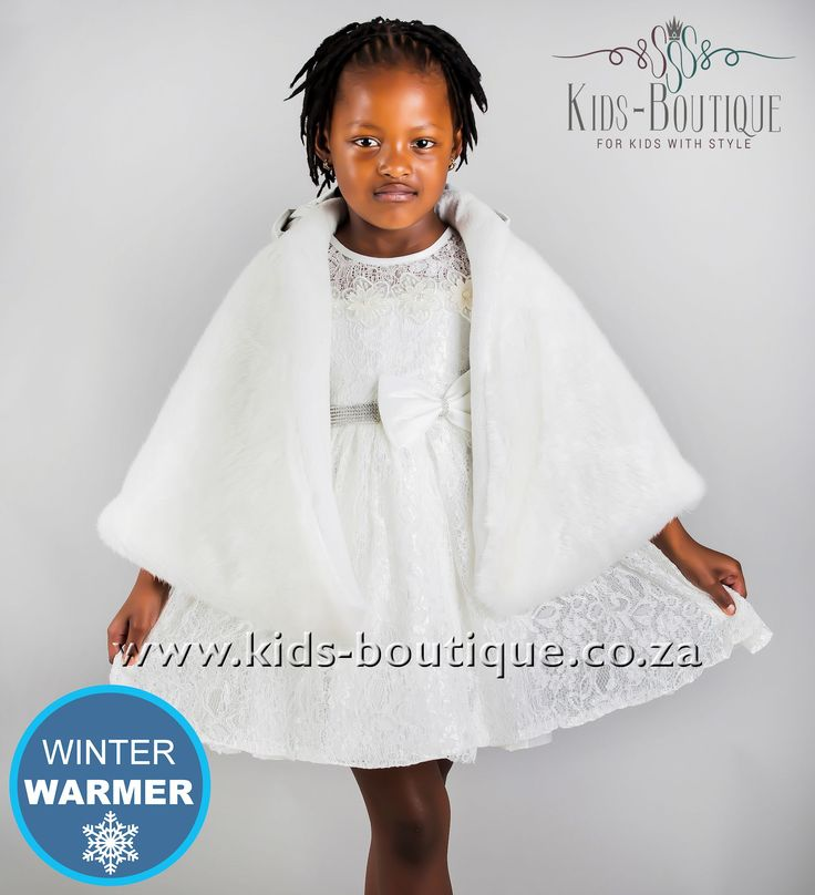 White Lace Dress With Bow - Fur Cape Sold Separately