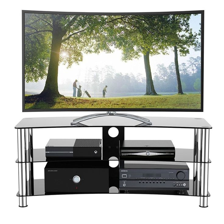 Glass TV Stand for 32 - 70 Inch Plasma LCD LED Television Black Tempered Shelves #na