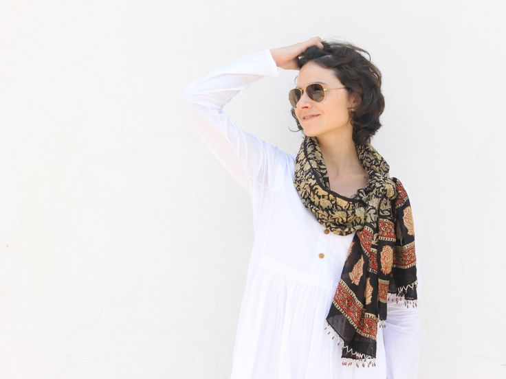 Natural and Vegetable hand Dyed Scarves Hand Block Printed and Bead Tasseled hand work stoles and Wraps beautiful summer accessories by SeenUnseenDesign on Etsy