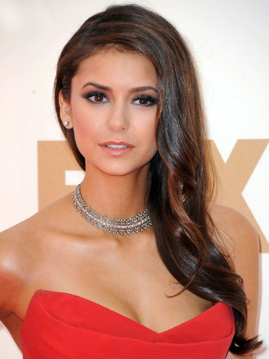 Nina Dobrev's one shoulder hair? Should I do it that way? LOVE makeup + hair