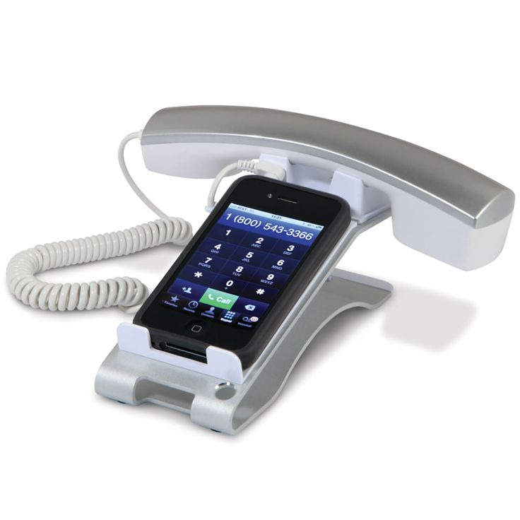 The iPhone Desktop Handset - Hammacher Schlemmer - This is the stand that transforms an iPhone into a more comfortable desktop handset phone.