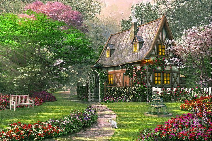 The Misty Lane Cottage Digital Art by Dominic Davison