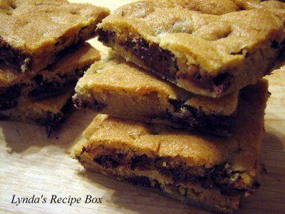 Lynda's Recipe Box: Toll House Pan Cookies- Use Toll House Chocolate Cookie recipe and bake in baking pan and cut in squares (ie like brownies).