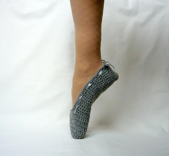 crocheted ballet slipper covers.