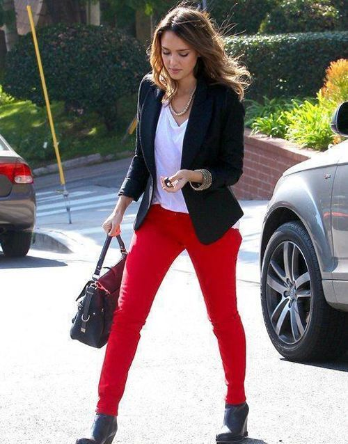 Craving some red skinny jeans right now