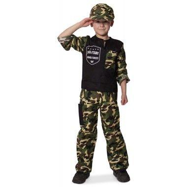 Soldaat pak met pet maat 134/146  Vier carnaval in dit superstoere soldaten kostuum. Heerlijk om je te verkleden voor een feestje of om met vriendjes soldaatje te spelen.  EUR 11.99  Meer informatie
