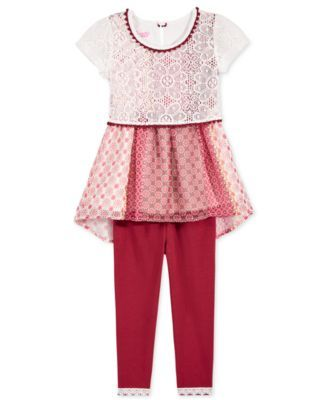 Nannette Little Girls' 2-Pc. Lace Shirt & Pants Set