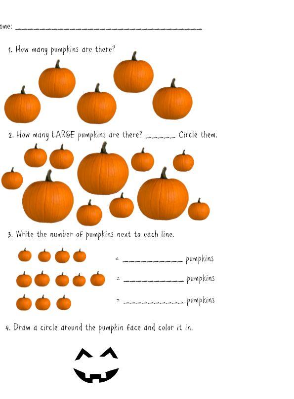 FREE Pumpkin Themed Worksheet Math