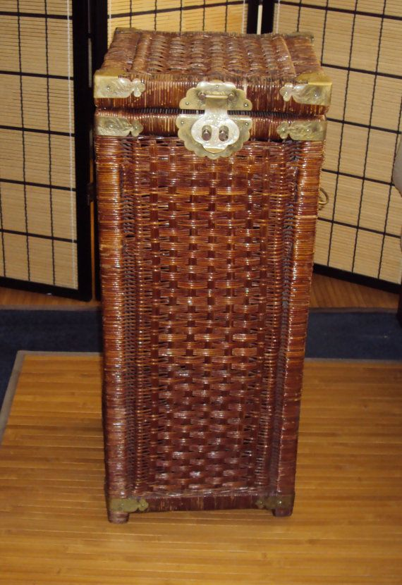 Vintage 28 Tall Laundry Basket Wicker Hamper by LotusInTheWind, $59.95
