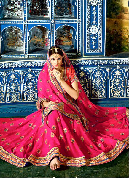 Dee's Alley Pink Georgette Embroidered Saree