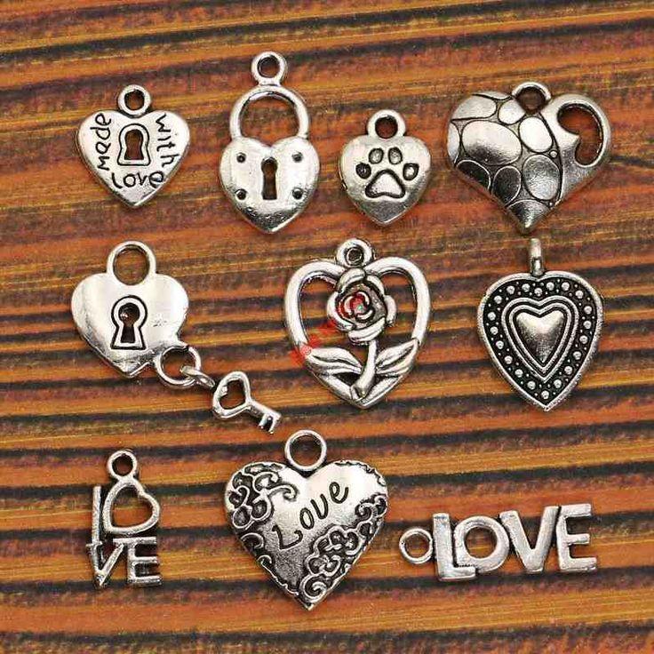 10pcs Mixed Tibetan Silver Plated Heart Love Charms Pendants Jewelry Making Diy Crafts Handmade m036
