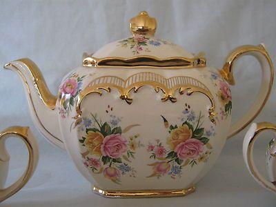 SUPERB VINTAGE SADLER TEA POT SET VERY SHABBY CHIC | eBay  (Sadler made beautiful tea pots and creamers and sugar bowls. I have a few and I love them.)
