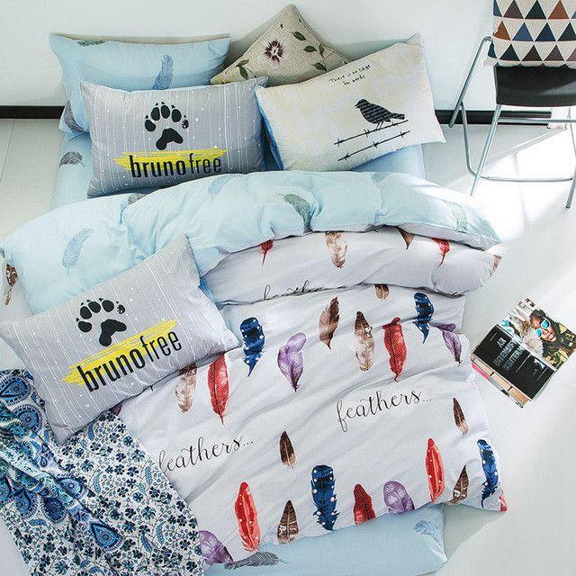 Elk Star Heart Plaid 3/4Pc Twin Full Queen King 100% Cotton Bedding Set duvet cover bed sheet fitted sheet pillowcase bed linen