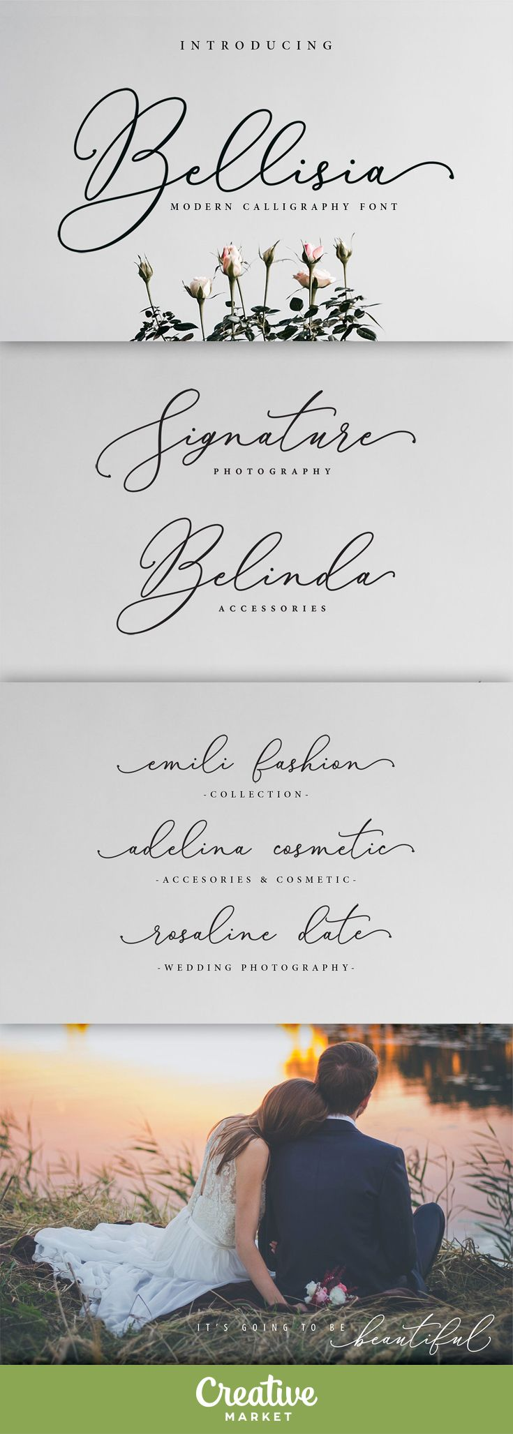 Bellisia Script is a modern calligraphy font. Bellisia a beautiful for logotype, website header, fashion design,wedding card design and any more. Bellisia comes with elegant style, It also comes as a Bellisia font, and a Bellisia Italic font. It contains a full set of lower & uppercase letters, a large range of punctuation, numerals, and multilingual support.