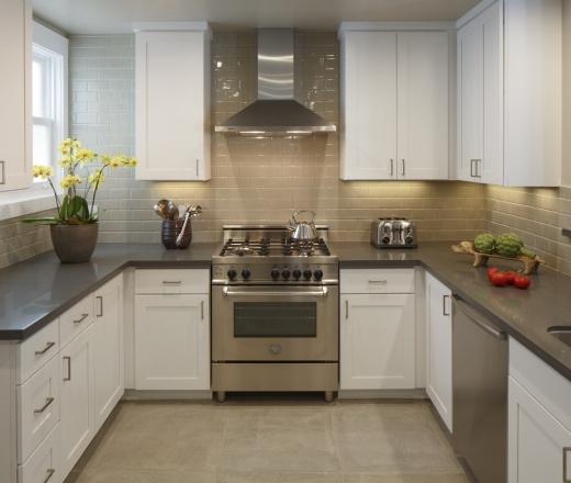 Contemporary U Shaped Grey Kitchen, White Cabinets, Environmental Design  Services, San Francisco