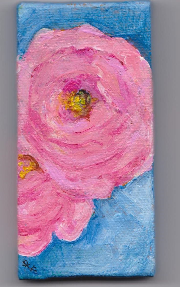 Roses mini canvas, pink roses mini canvas art, pink flower mini painting, mini easel, acrylic painting canvas art by SharonFosterArt on Etsy