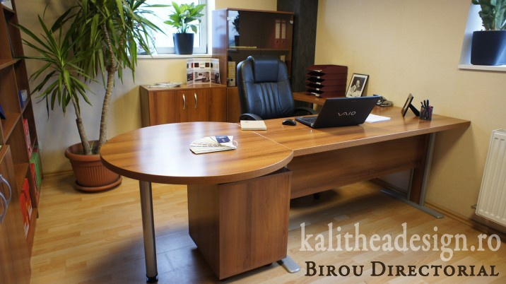 Mobilier pentru birou - Birou directorial de la Kalithea Design  http://www.kalitheadesign.ro/mobilier-birou/83-birou-directorial-picioare-metalice.html