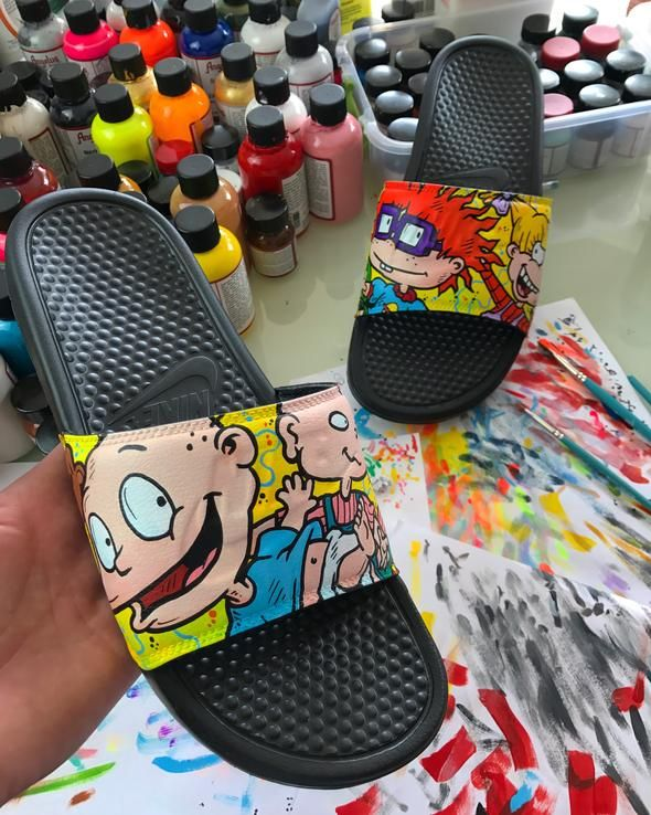 70874a31140 Rugrats Themed Hand Painted Nike Slides aka Sandals