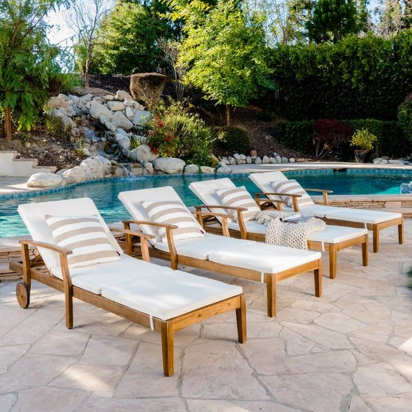Perla Outdoor Acacia Wood Chaise Lounge With Cushion Set Of 4 By