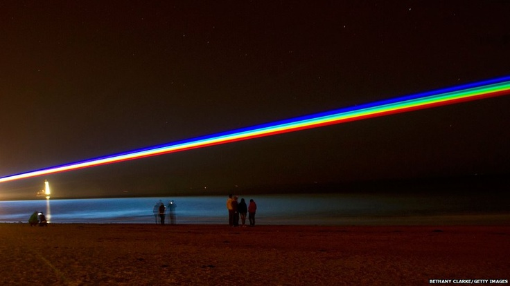 International artist Yvette Mattern shows her stunning laser projection, Global Rainbow, in Whitley Bay. The light installation celebrates the London 2012 Cultural Olympiad in the north-east of England.