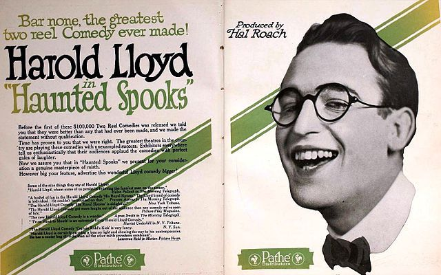 Ad for the American comedy short film Haunted Spooks (1920) with Harold Lloyd, on pages 2862 and 2863 of the March 27, 1920 Motion Picture News.