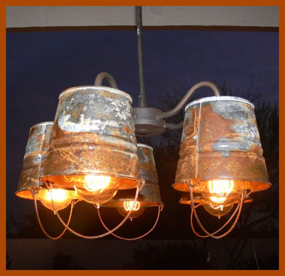 Rusty Bucket Chandelier by AnotherChanceShop on Etsy, $250.00 Farmhouse dining room???