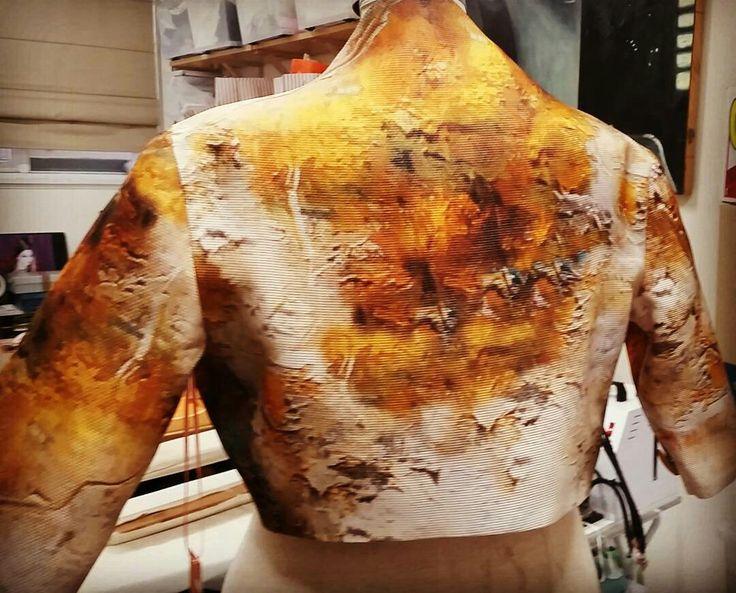 oil paint print on crop jacket  @somadesign.com.au