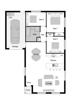Taranto Floor Plan - Affordable Range - With the generous open-plan living space, three bedrooms and an internal accessed garage First Home Owners need look no further than this smart home. #singlestoreyhomedesign #affordablehomedesign
