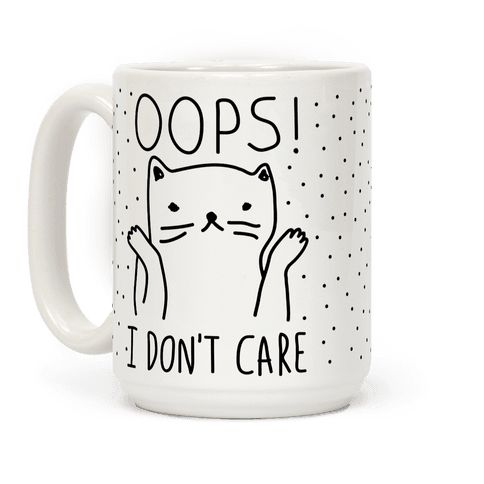 Show off your independence and rebelliousness with this sassy, cat lover's, careless feline inspired coffee mug! Go ahead and channel your inner cat, knock over some glasses, and let everyone know that you just don't care! The perfect mug for Monday morning at the office, or a lazy weekend at home. Free Shipping on U.S. orders over $50.00.  Get 25% off everything on our entire site through Tuesday, Feb 16.  No promo code required.