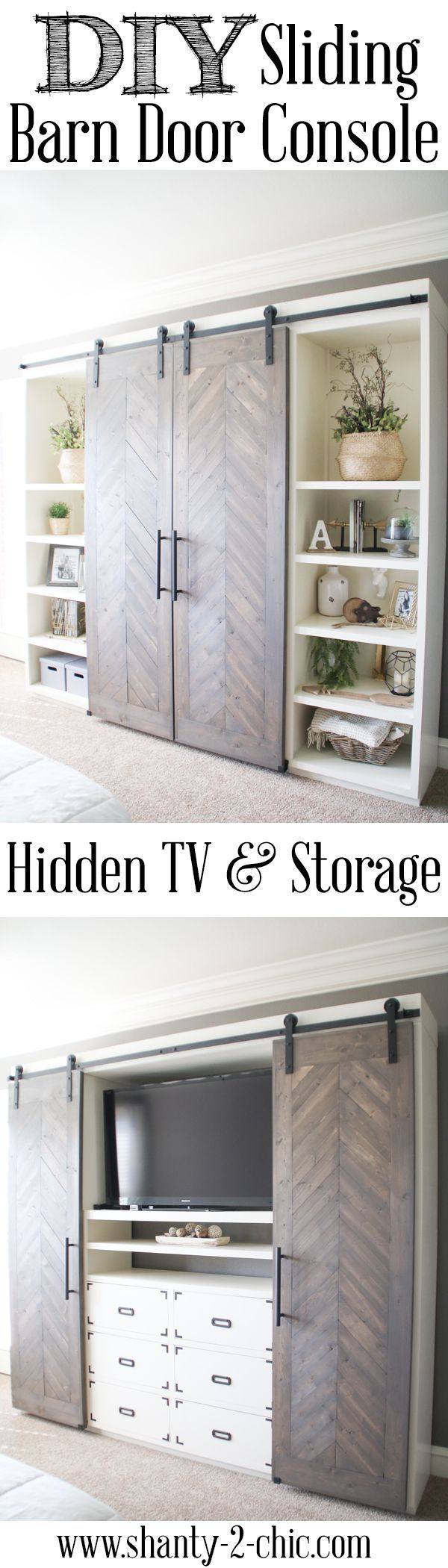 Build this Sliding Barn Door Console! It's perfect for any room! Hide your TV and add tons of storage! Free plans and tutorial at www.shanty-2-chic.com