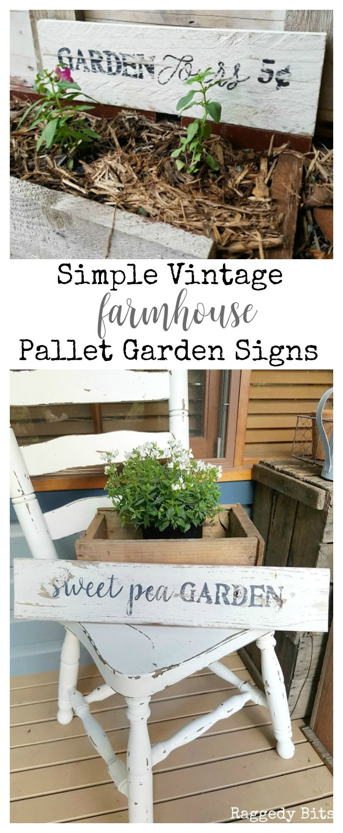 Waste Not Wednesday-50 Raggedy Bits Projects for the week   Simple Vintage Farmhouse Pallet Garden Signs   www.raggedy-bits.com