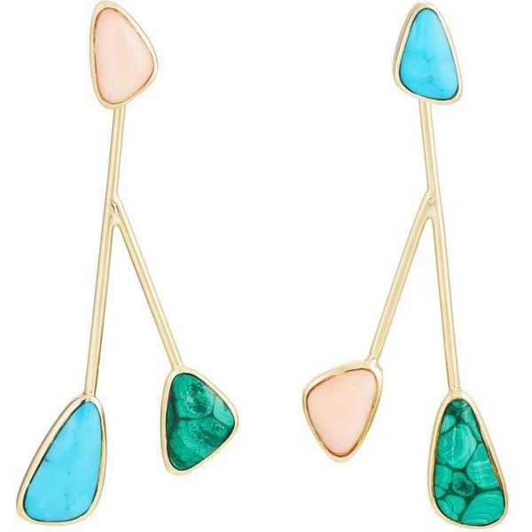 Pamela Love Fine Jewelry Women's Pilar Drop Earrings ($4,600) ❤ liked on Polyvore featuring jewelry, earrings, multi, 18k jewelry, colorful jewelry, 18 karat gold earrings, polish jewelry and tri color earrings