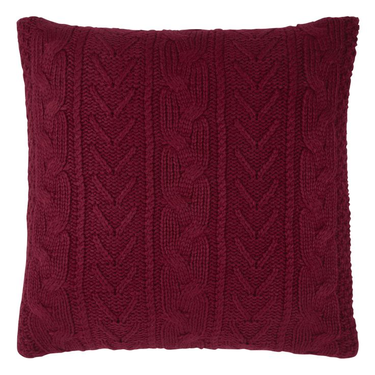 Ashby Knitted Cushion Cranberry Laura ashley