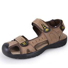 Estilo Clásico de verano Puntera Cubre zapatos Hook & Loop 111% Cuero Genuino Para Hombre Zapatos de Las Sandalias(China (Mainland))